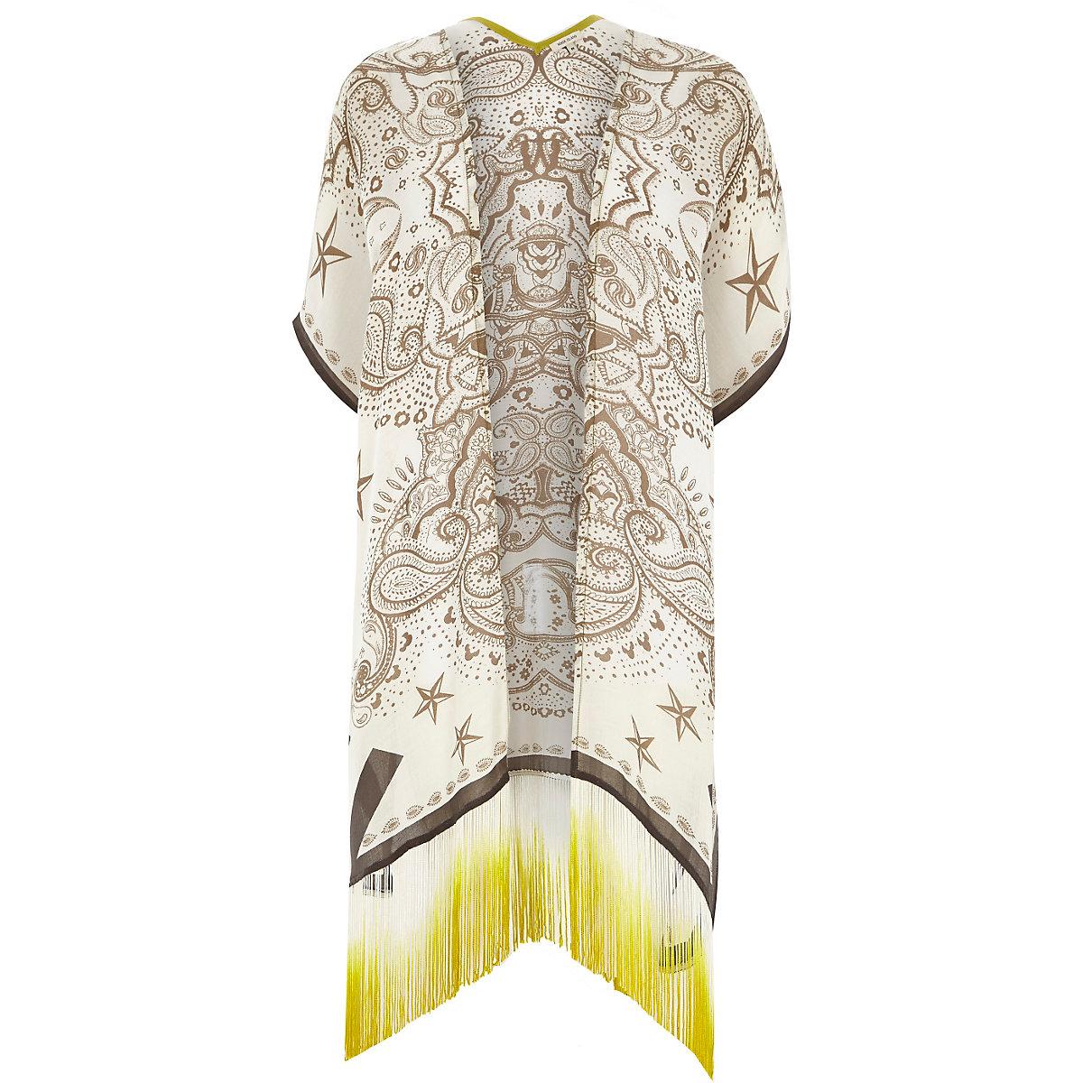 Kimono imprimé cachemire crème à pampilles