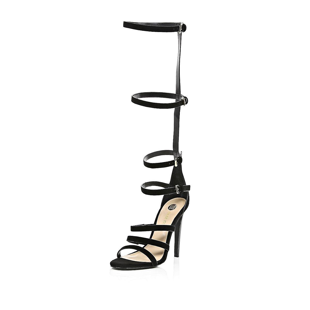 Black suede high leg gladiator sandals