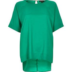 Green oversized slit back t-shirt