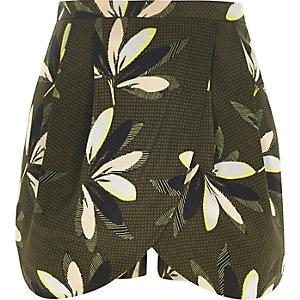 Khaki leaf print smart skort