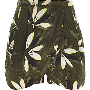 Jupe-culotte habillée à imprimé feuillage kaki