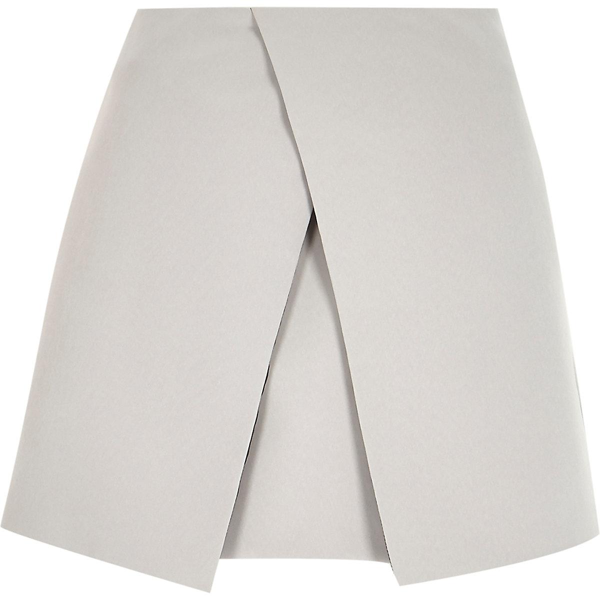 Grey wrap front mini skirt