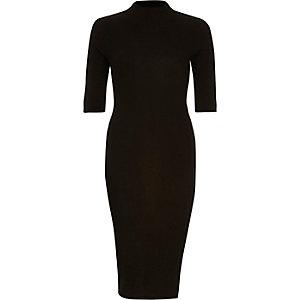 Black ribbed bondcon dress