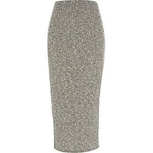 Grey marl ribbed maxi skirt