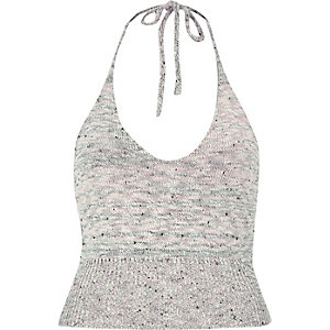 Grey marl knitted halter neck crop top