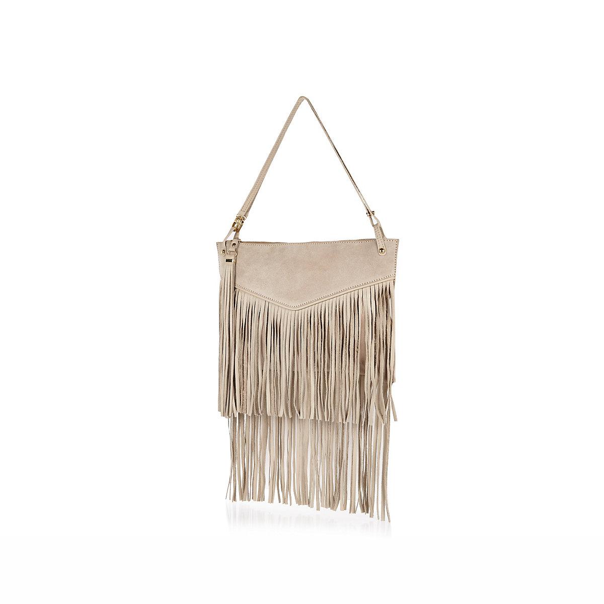Cream leather fringed bag