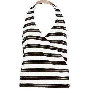 White stripe plunge wrap halter neck top