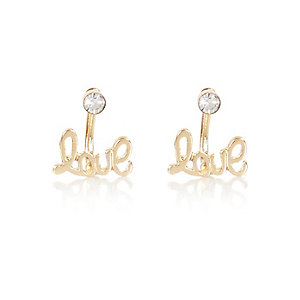 Gold tone crystal front and back earrings