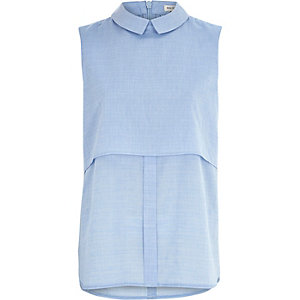 Blue chambray sleeveless shell shirt