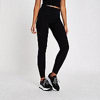 Schwarze, extralange Jersey-Leggings mit hohem Bund