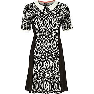Black geo print panelled A-line dress