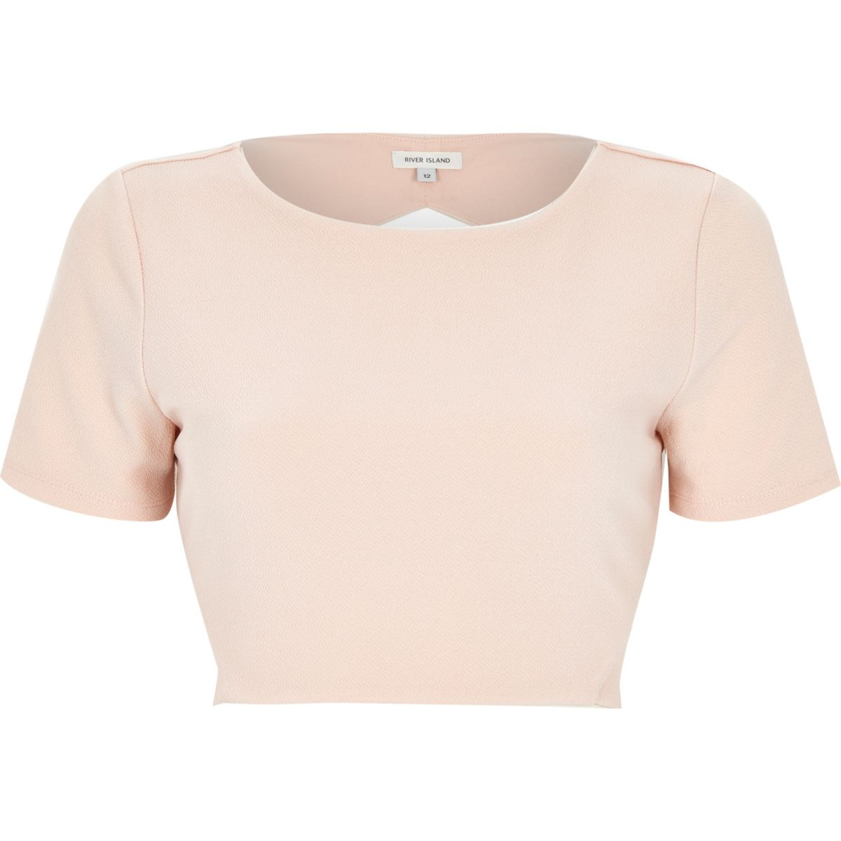 Light pink knot back crop top