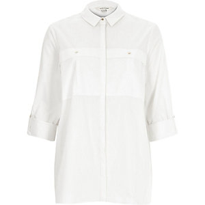 White rolled up sleeve shirt