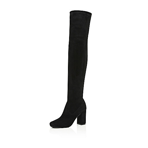 Black over-the-knee block heel boots