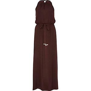 Dark red satin waisted maxi dress