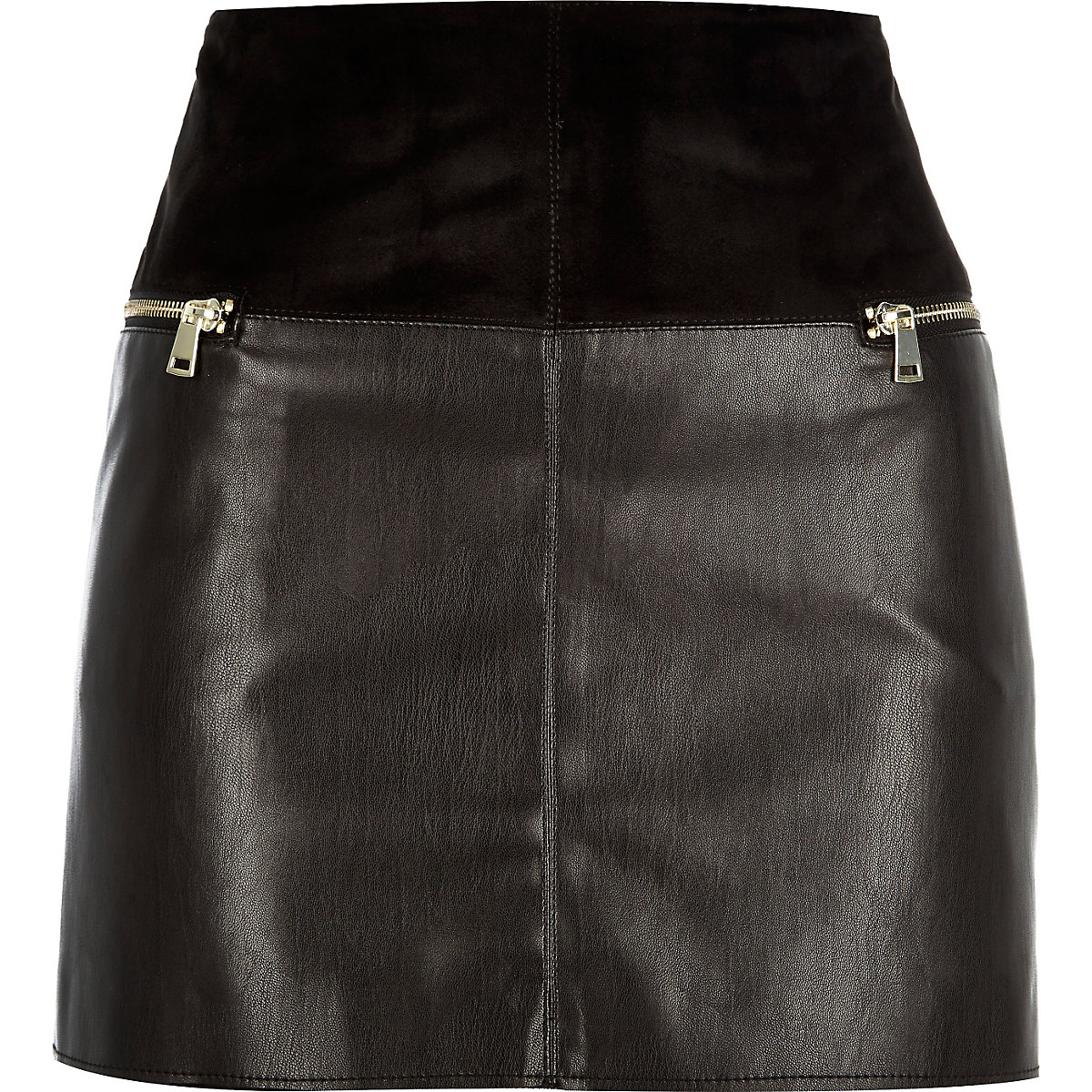 Black leather-look zip side pelmet skirt