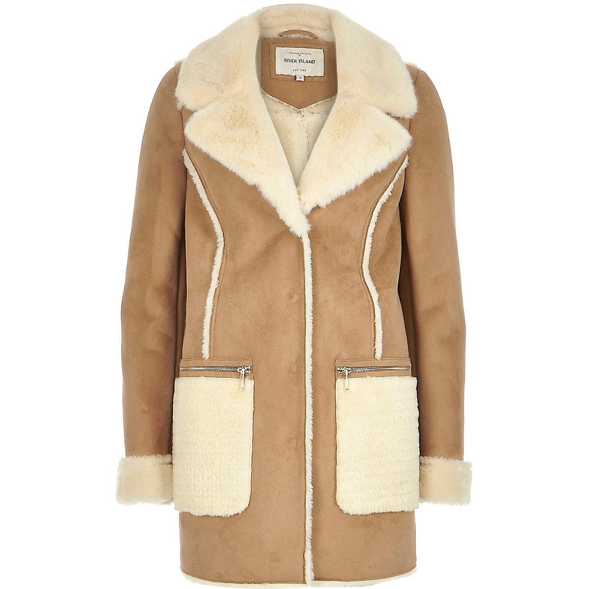Camel brown faux-suede winter coat