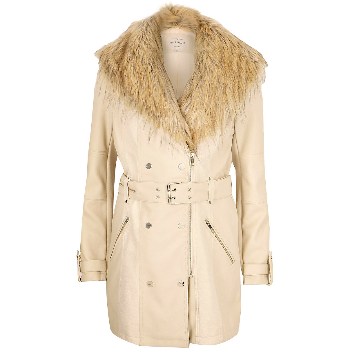 Cream leather-look faux fur trench coat