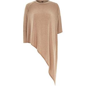 Camel slouchy lightweight asymmetric top