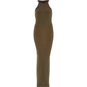 Robe longue moulante kaki à côtes