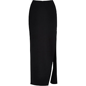 Black zip side split maxi skirt