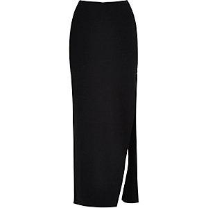 Jupe longue zippée noire à fente latérale