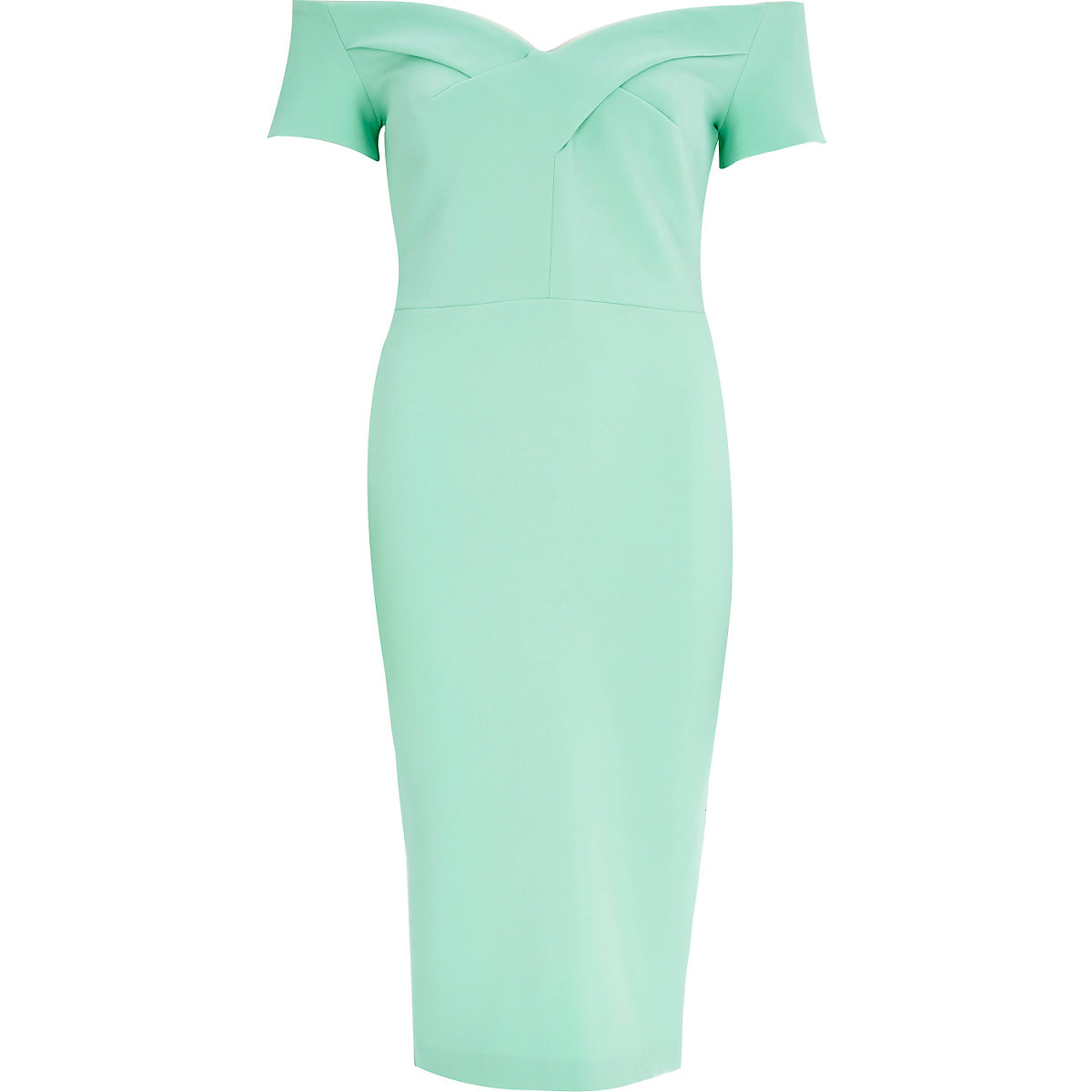 Light green bardot midi party dress