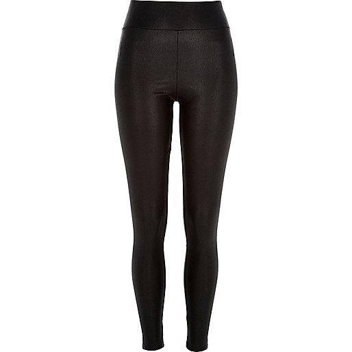 Black cracked coated high waisted leggings