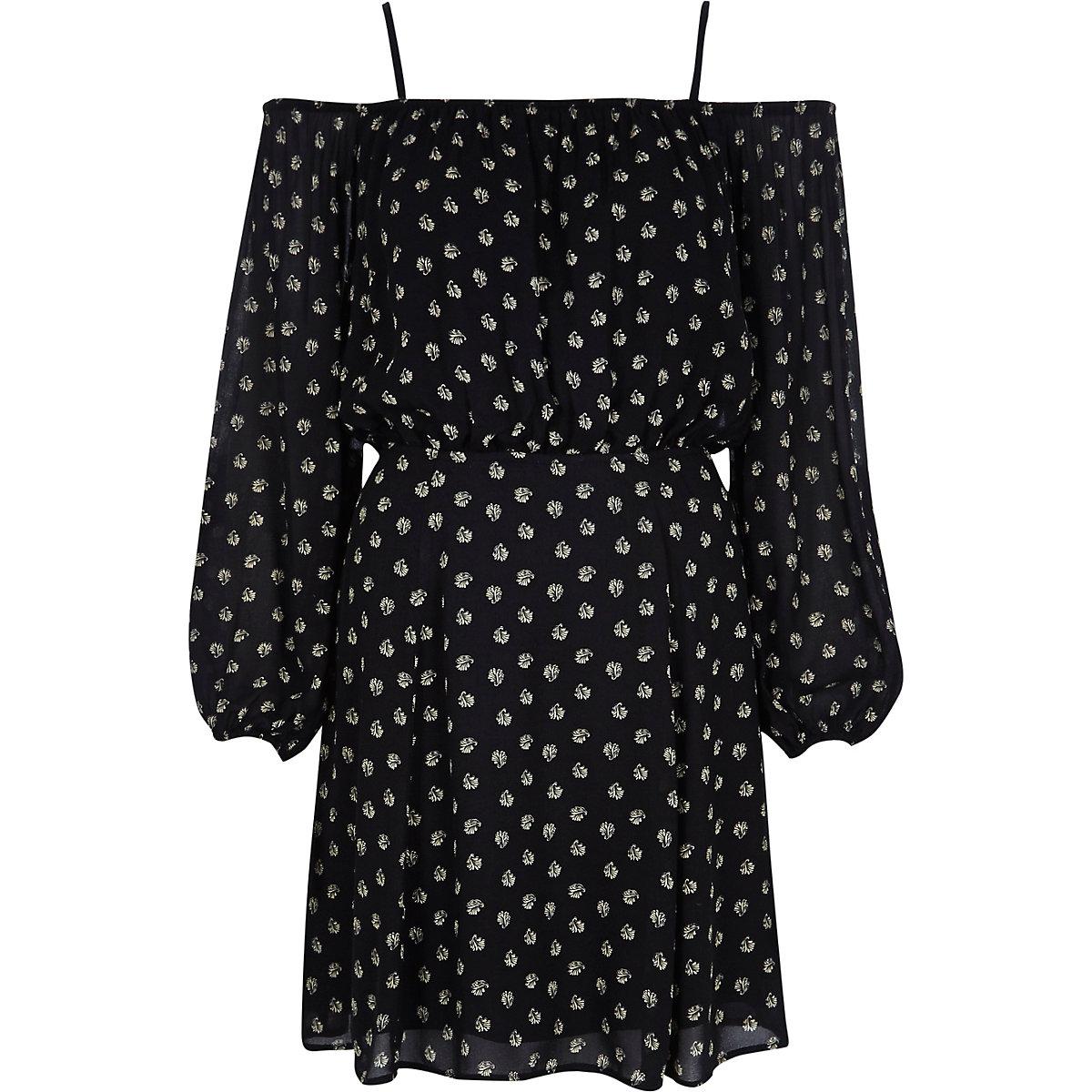 Black print crepe bardot dress