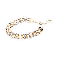 Gold tone encrusted rope bracelet