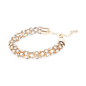 Gold tone encrusted rope bracelet