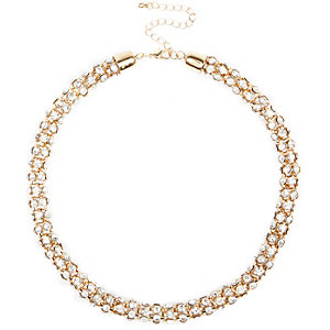 Gold diamante chain necklace