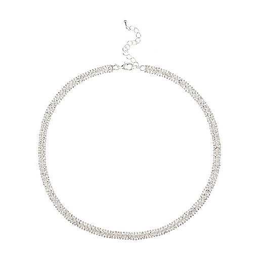 Silver tone rhinestone sparkle necklace