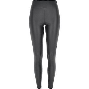 Dark grey coated high rise leggings