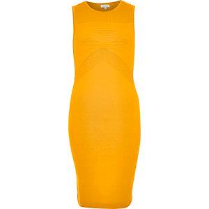 Orange open back bodycon dress