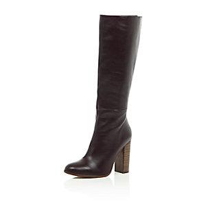 Burgundy leather knee high heeled boots