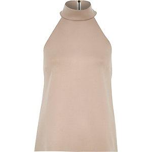Nude pink high neck sleeveless top
