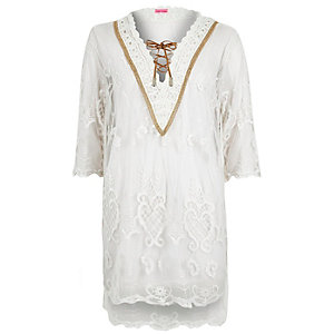 Cream embroidered lace up dress