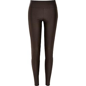 Brown coated high waisted leggings