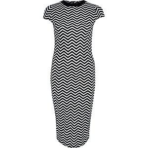 Black chevron print bodycon midi dress