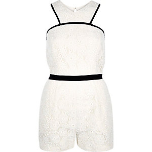 White lace cut out playsuit