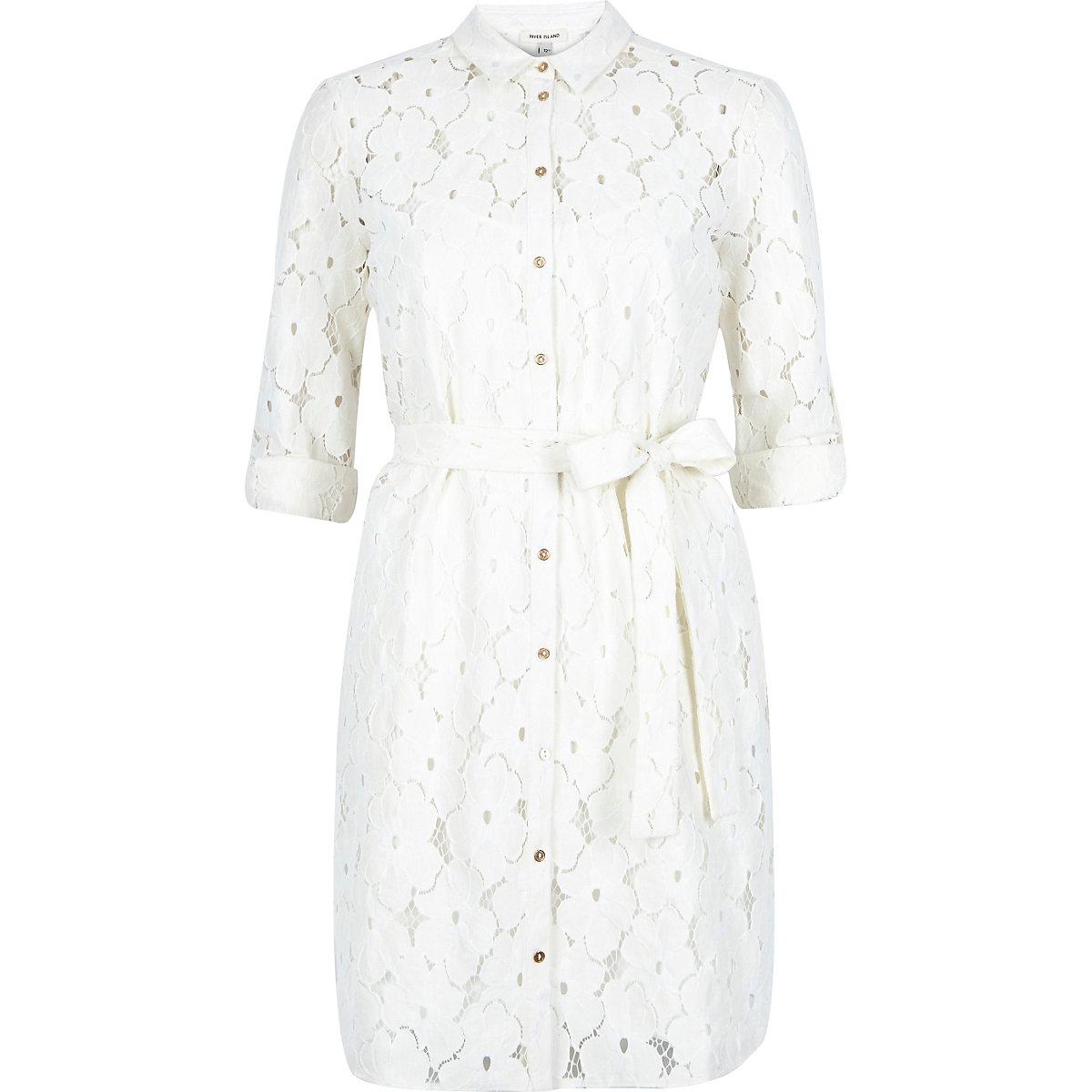 Cream lace shirt dress