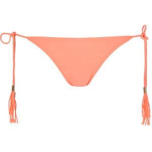 Bas de bikini corail à franges