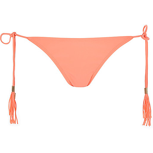 Coral fringed bikini bottoms