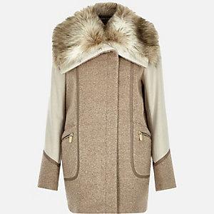 Beige wool-blend faux fur collar winter coat