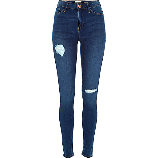Mid blue wash ripped Molly reform jeggings