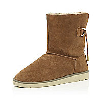 Brown suede faux fur lined ankle boots