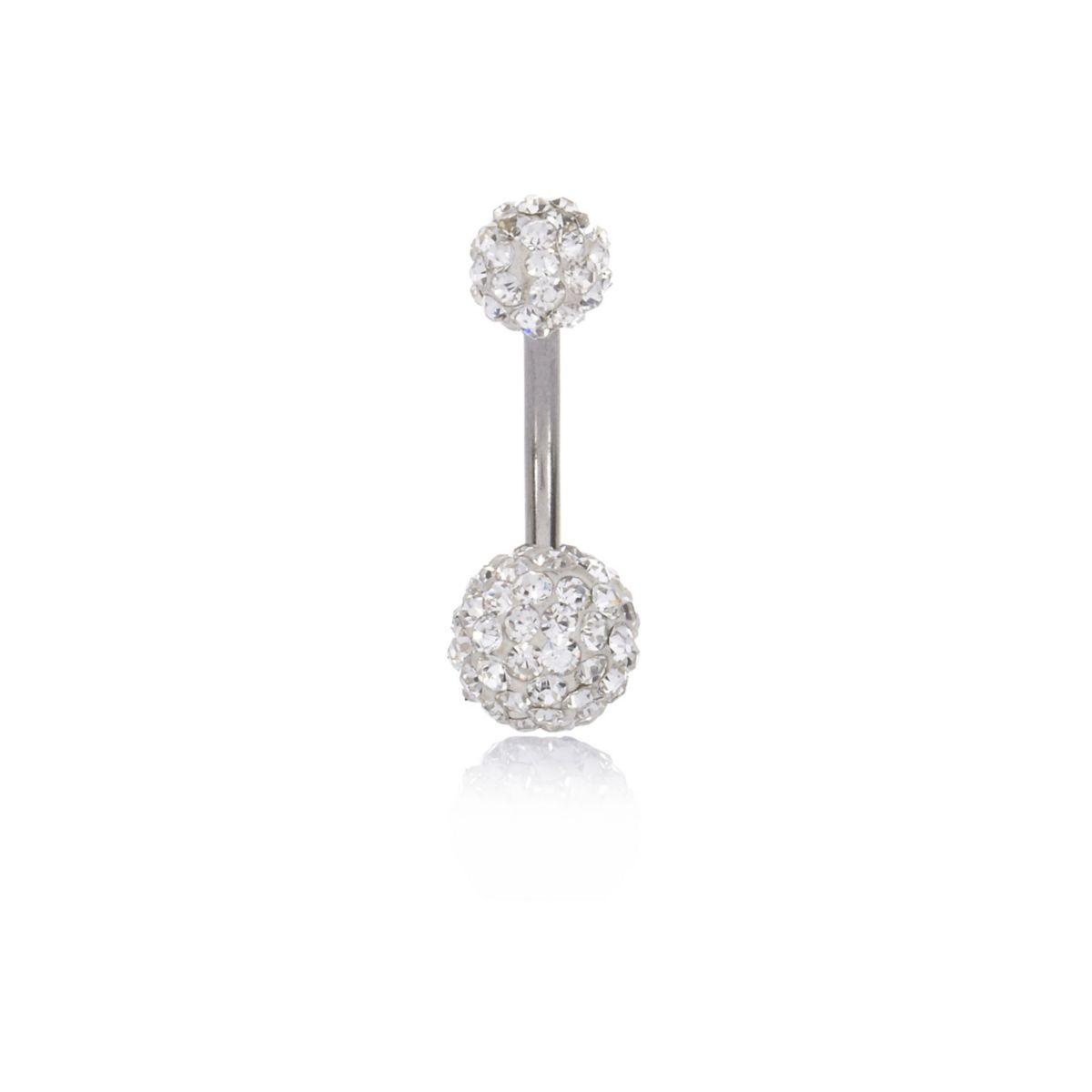 Silver tone diamante ball belly bar