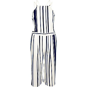 Navy stripe strappy cropped jumpsuit