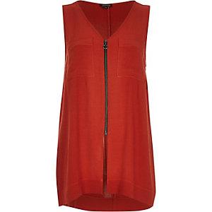 Rust red zip front vest